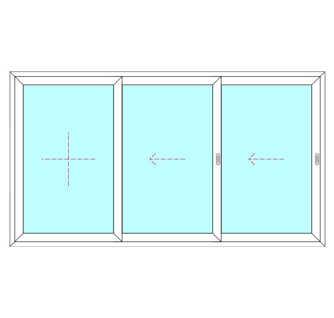 3 Panel, 2 Slide